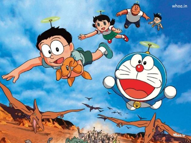doraemon-and-his-friends-flying-with-dinosaur